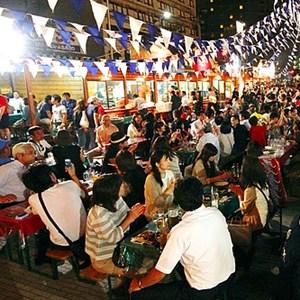 小樽ビール 夏のビアガーデン 狸二条広場